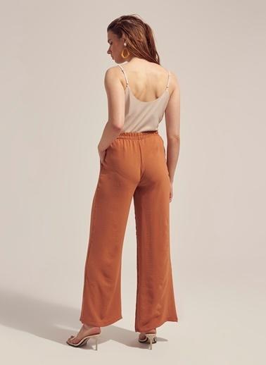 Monamoda Beli Lastikli Cepli Bol Pantolon Takım Alt Oranj